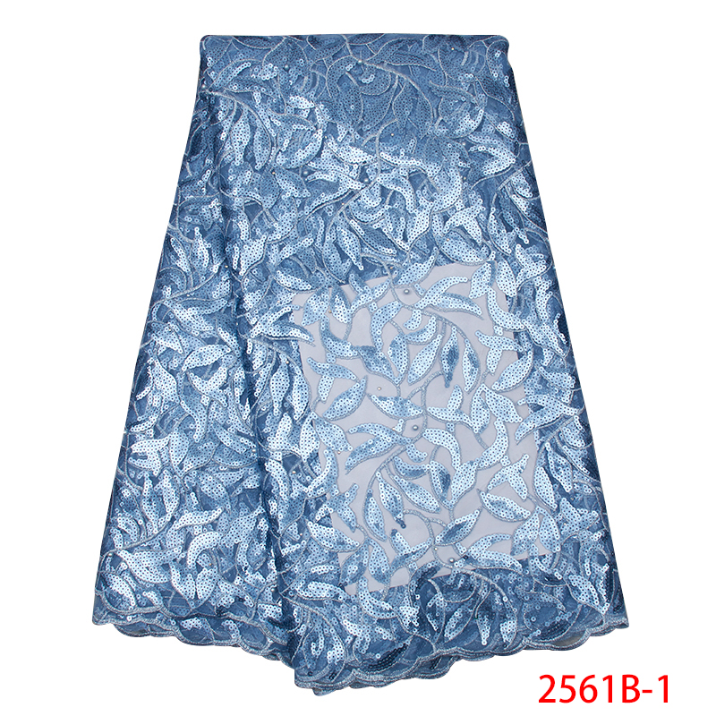 2019 High Quality African Lace Fabric Nigerian Lace Fabrics Hot Sale French Tulle Lace With Sequins Stone For Party KS2561B-1