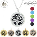 Chain as Gift! Fashion Magnetic 316L Stainless Steel Tree of Life 20mm,25mm,30mm Perfume Locket Aromatherapy Locket Pendant