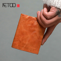 AETOO Ultra thin Japanese make old handmade wallet male short youth Japanese retro cowhide Wallet