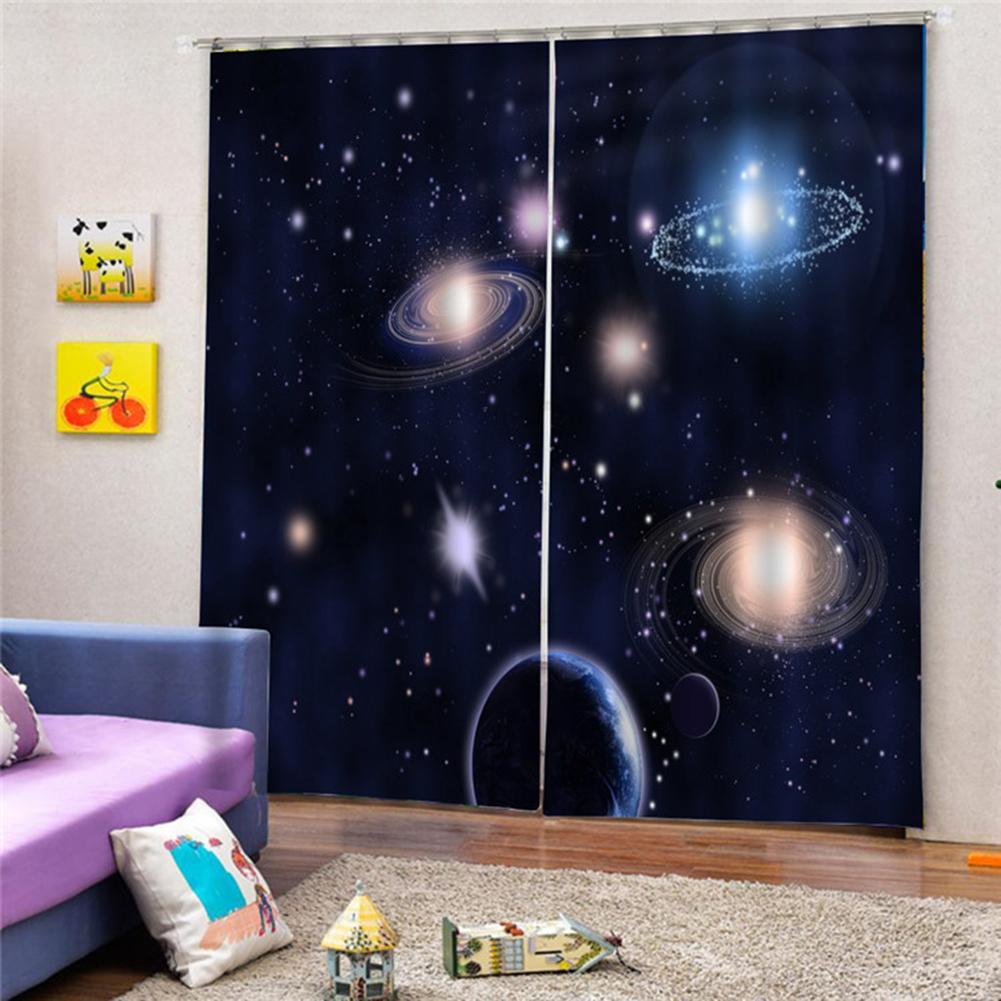 2pcs 75x166cm Cosmos Planet Light Blocking Window Curtain Balcony Patio Decoration