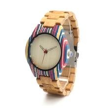 БОБО ПТИЦА H22 Цветастые Деревянные Часы для Мужчин Кварцевые Часы Замена бамбук Кожаный Ремешок, как Лучший Подарок Для Мужчин и для Женщин с Подарком коробка