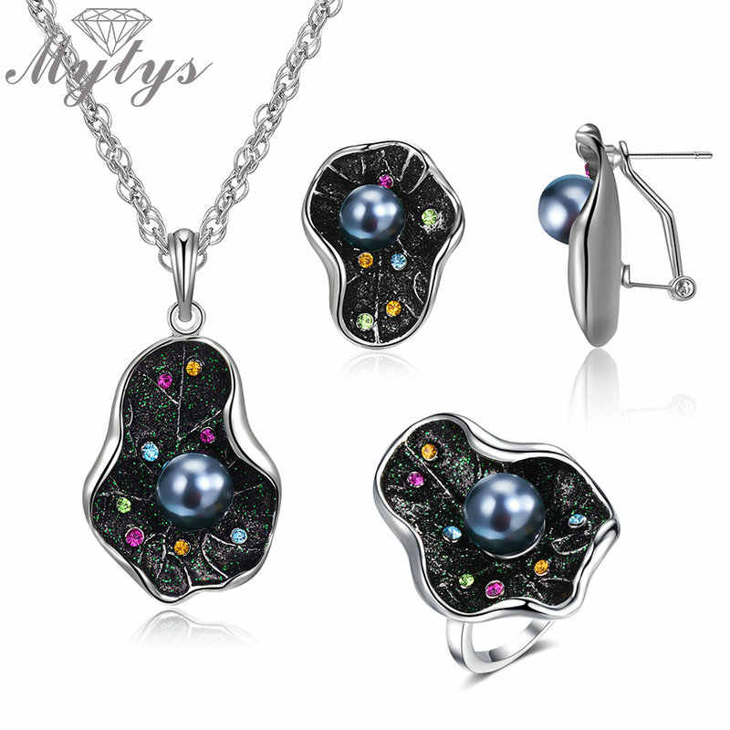 Mytys Sparkling Noble Leaf Ring Earrings Necklace Colorful Crystal & Black Pearl On Leaf Retro Statement Jewelry Sets for Women