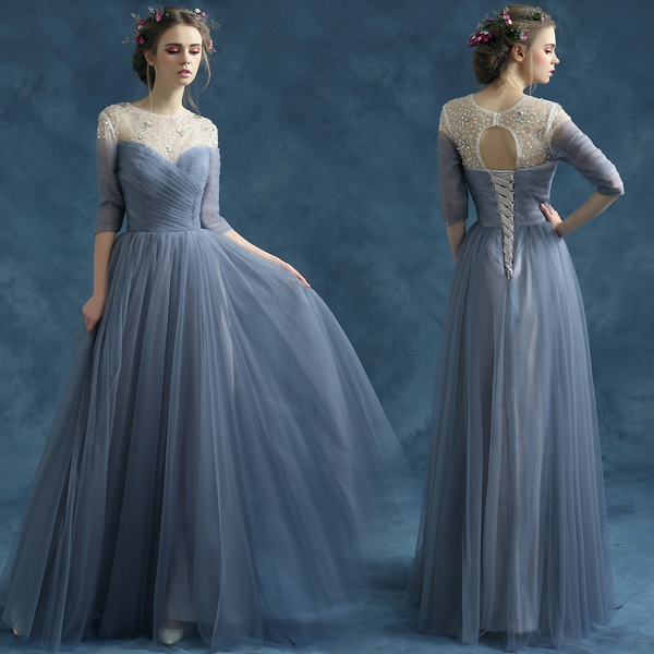 9dc6ac593c 2016 new arrival stock maternity plus size bridal gown evening dress sexy ball  gown long half sleeve Blue Grey 2825q