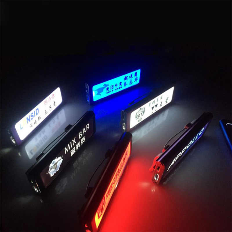 Gylbab 1pc Waiter led name badges Night Tags employee card customize pin plate rechargeable light DIY printed non programmed