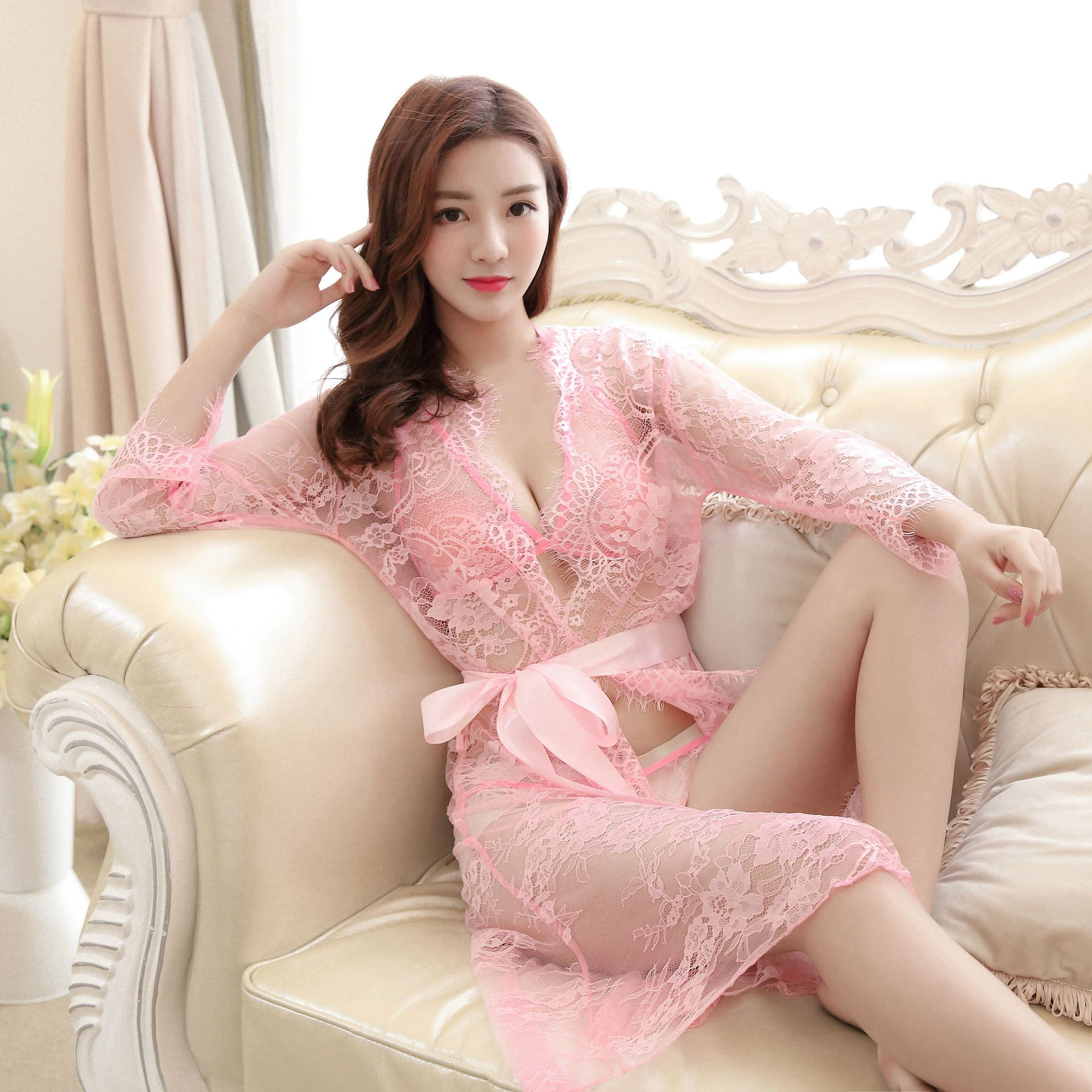 3PCS Set (Bra Top Outwear)New Sexy Lingerie   Nightgowns   Women   Sleepshirts     Nightgown   Robes Female Sleep Wear Lace Night Dress