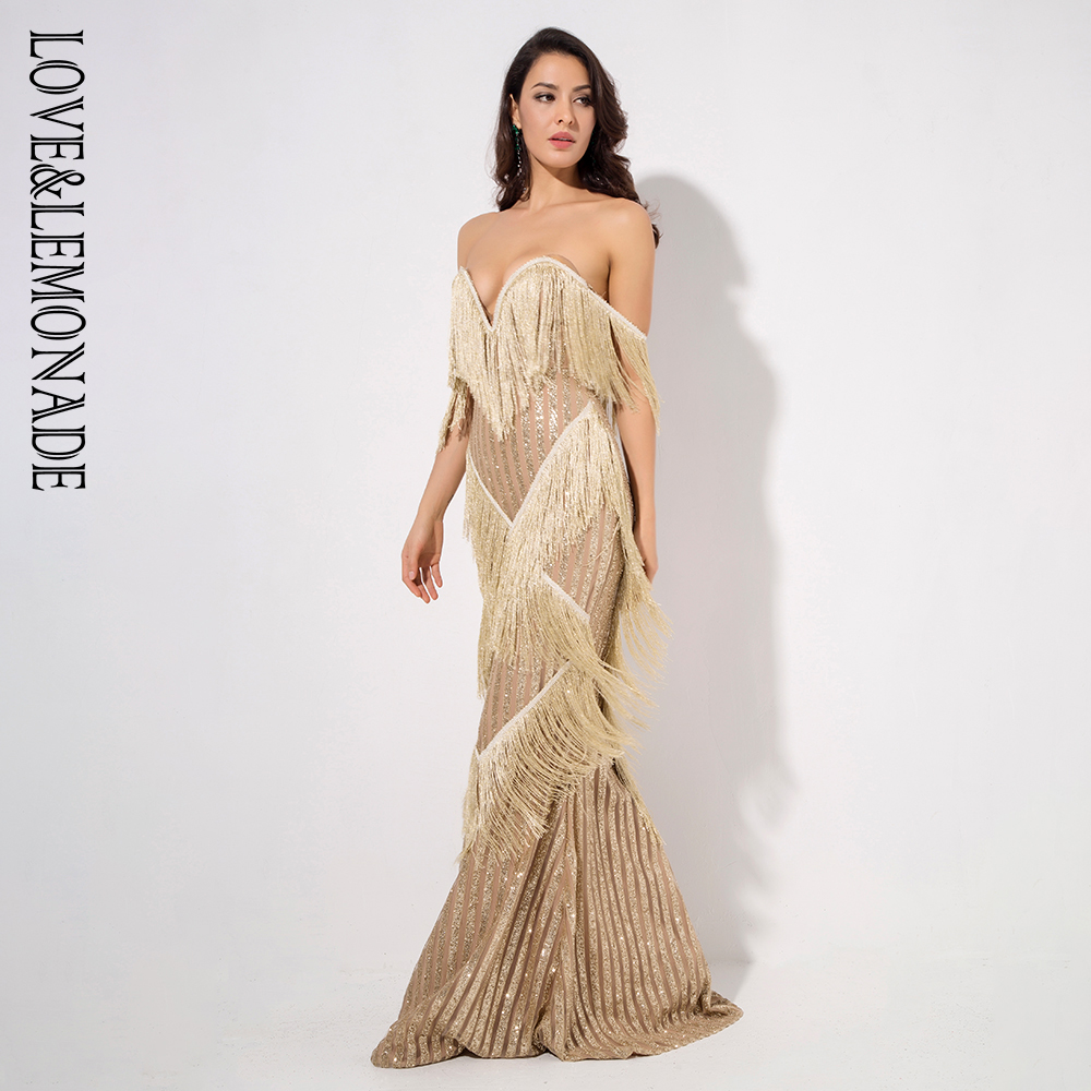 Amour & limonade profonde col en v or frangé rayures décoratives paillettes longue robe LM1316-in Robes from Mode Femme et Accessoires    3
