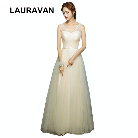 Champagne V Neck Bride Maid Formal Bridsmaid Dress Size 2 Long 2019 Cheap Tulle Bridesmaid Dresses Sweetheart Under 50 Ball Gown
