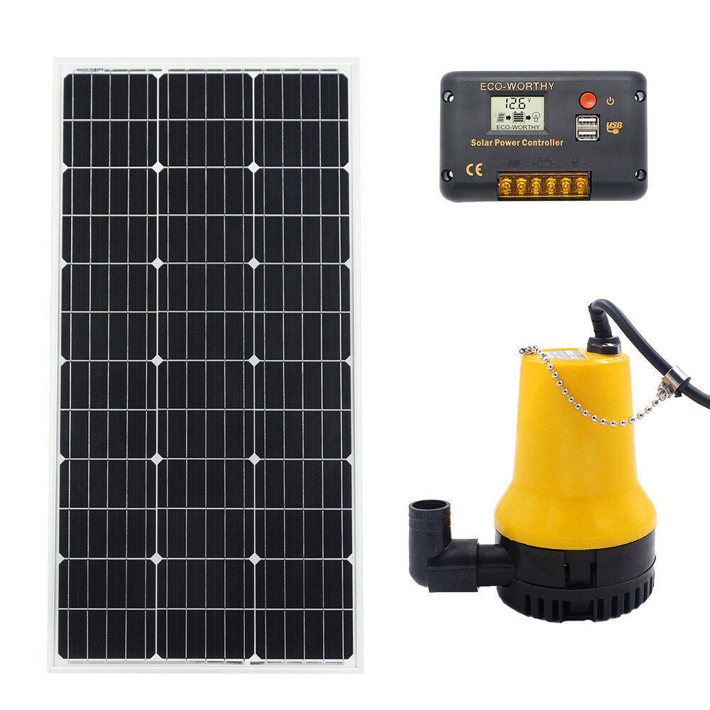 Solar panel and <font><b>pump</b></font> for <font><b>water</b></font> feature & <font><b>12V</b></font> Solar <font><b>Submersible</b></font> Clear <font><b>Water</b></font> <font><b>Pump</b></font> & 20A Charge Controller & 120W Solar Panel image
