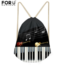 FORUDESIGNS Casual Men String Backpack Music Notes Piano Keyboard Prints Mens Mochila Logo Custom Sack Man Satchel Softback