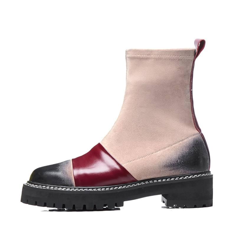 Krazing maceta cuero de vaca natural punta redonda tacones gruesos color mezclado occidental estilo preppy estiramiento stovepipe tobillo botas L96-in Botas hasta el tobillo from zapatos    3