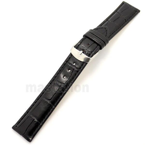 68f9d925f0d8 20mm Negro hombres mujeres Cuero auténtico correa de banda de reloj hebilla  de acero inoxidable con 2 barras de resorte