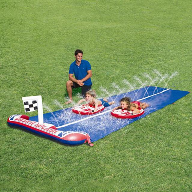 2017 de alta qualidade para crianças brinquedo jogo de corrida de natação ao ar livre duplo slides slide grande 448 cm jet frete grátis