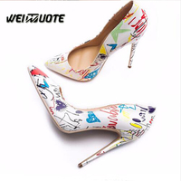Pumps women shoes Pointed toe shoes high heels slip on mouth colorful fashion sexy Dressing high heels Ladies shoes
