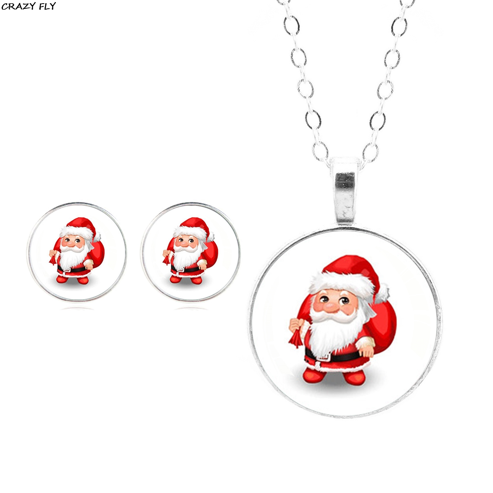 CRAZY FLY 2018 Christmas Gift 3 Pcs/Set Santa Claus Jewelry Necklace Pendant Glass Cabochon Stud Earrings Fashion Accessories