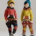 2016 nova outono/inverno do bebê meninas conjunto de roupas terno crianças grosso quente velo camisola + leggings crianças conjunto de roupas