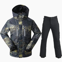 GSOU SNOW Brand Ski Suit Men Snowboarding Suits Waterproof Warm Mountain Skiing Suit Breathable Winter Snow