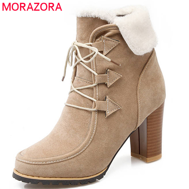MORAZORA 2018 new arrival fashion shoes woman round toe winter snow boots lace up high heels boots popular ankle boots women цена 2017