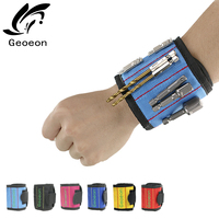 Geoeon  Magnetic Wristband 5pcs Portable Tool Bag Electrician Wrist Tool Belt Screws Nails Drill Bits Holder Repair Tools D28