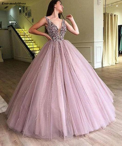 Image 2 - ダークグリーンのセクシーなイブニングドレス 2019 オープンバック V ネックフロアレングスノースリーブスパンコールロングウエディングパーティードレスガウンローブド · ソワレ