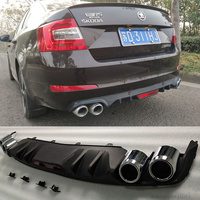 Car Styling For Skoda Octavia 2014 to 2017 Rear Diffuser Protector High Quality ABS Black Rear Bumper Lip Trunk Spoiler