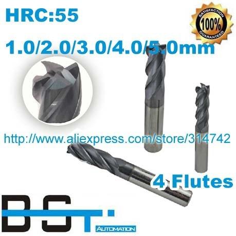 1mm 2mm 3mm 4mm 5mm set 4 Flutes HRC 55 ALTIN Tungsten Steel Flat Bottom Milling