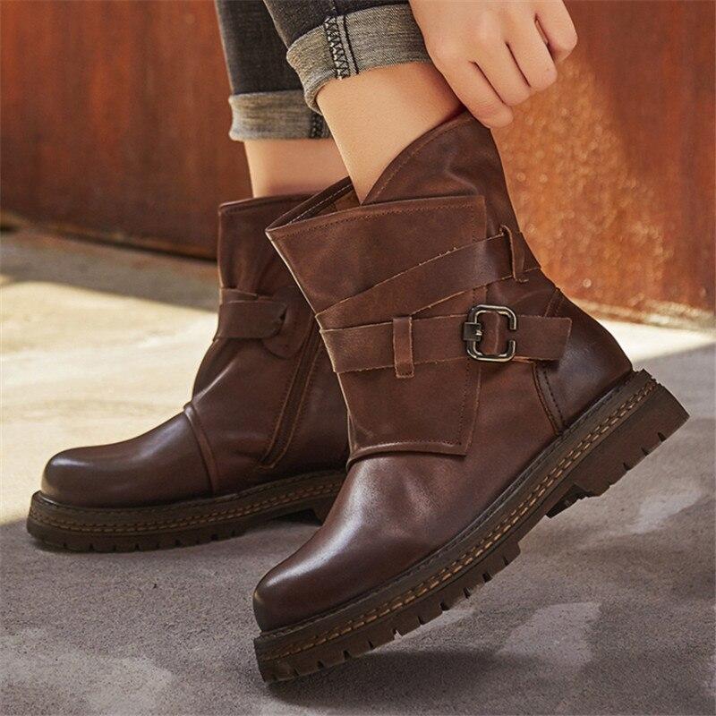 Nouveau décontracté cuir bottes automne hiver chaud en cuir tube femmes bottes classique rétro confortable doux lumière sauvage chaussures pour femmes