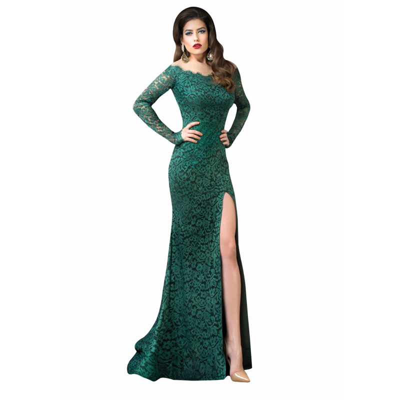 Dark Green Formal Dress Illusion Long Sleeves Lace Evening Dress