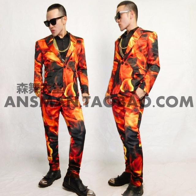 ( Jacket + pants ) fogo impressão ternos homens definir dançarino cantor performance show boate roupas Blazer fino ao ar livre desgaste