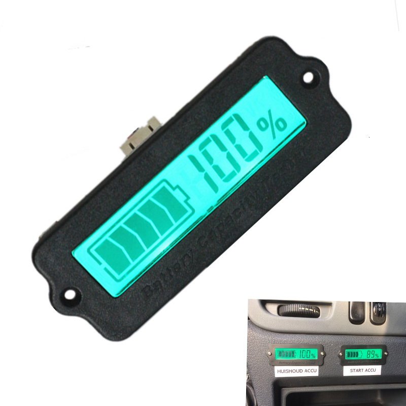 Image 2 - IC Tester Voltmeter Battery Capacity Indicator 12V LY6W Lead Acid LiPo LCD Display Battery Capacity Meter Power Detect Digital-in Integrated Circuits from Electronic Components & Supplies