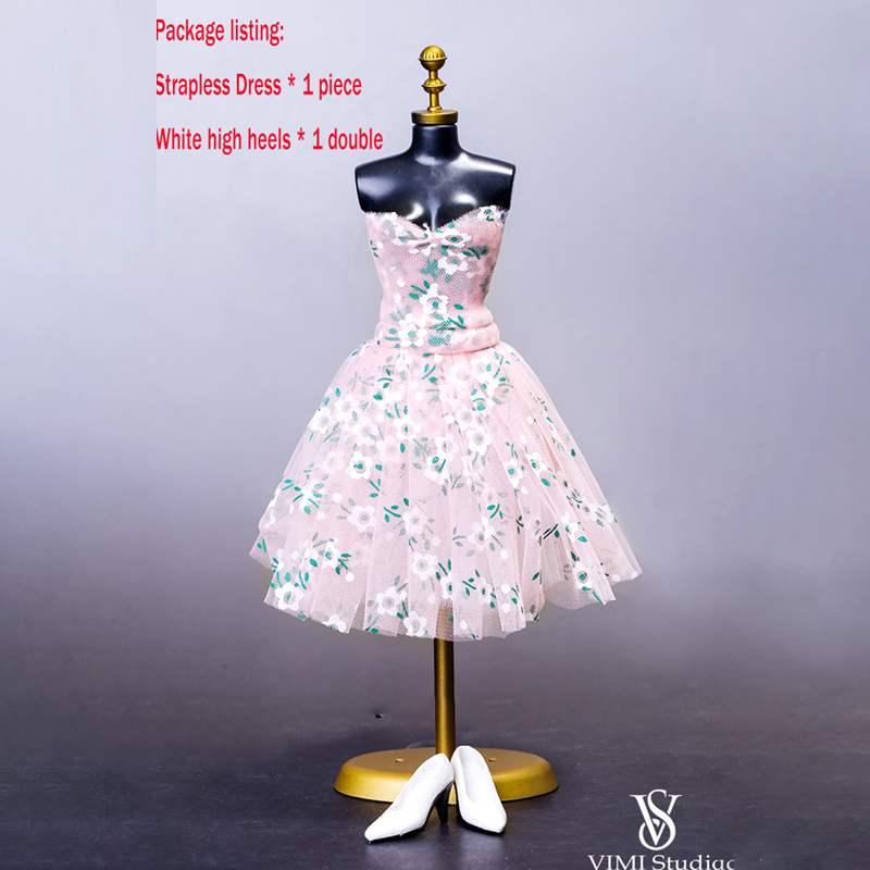 1/6 Scale Clothes accessories VS022 1/6 Scale Floral Strapless Dress Skirt Bra pleated F 12 Female Figure Phicen Big Bust Body