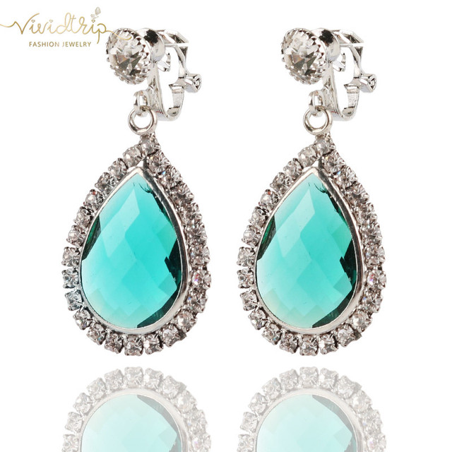 New Arrival Elegant AAA Red Blue Green Pink Crystal Clip On Earrings No Pierced Geometric For Women Party Dangle Chinese Earring