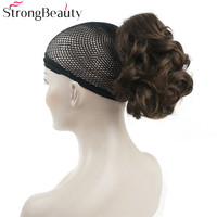 Strong Beauty Synthetic Hair Short Fake Chignon Hair Piece Curly Clip In Extensions Hairpiece For Women