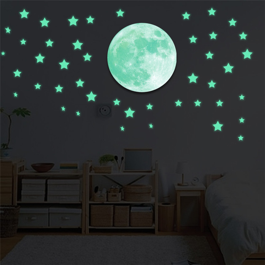 Glow In The Dark Room Decor.Us 1 8 46 Off Kakuder Stickers Glow In Dark Stars Moon Wall Ceiling Sticker For Home Decor Living Room Decor Sticker New Drop Shipping 71128 In