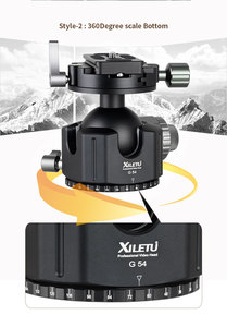 Image 5 - XILETU G 54 Tripod Ball Head 360 Degree Double Panoramic Photography Aluminum Ballhead Heavy Duty With Quick Release Plate