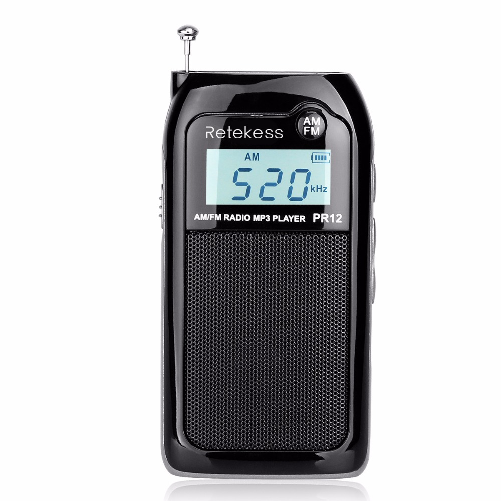 RETEKESS PR12 AM FM Mini Handheld Radio Portable Pocket Radio Receiver With MP3 Player Support Micro USB Card For Walking Hiking 5pcs pocket radio 9k portable dsp fm mw sw receiver emergency radio digital alarm clock automatic search radio station y4408
