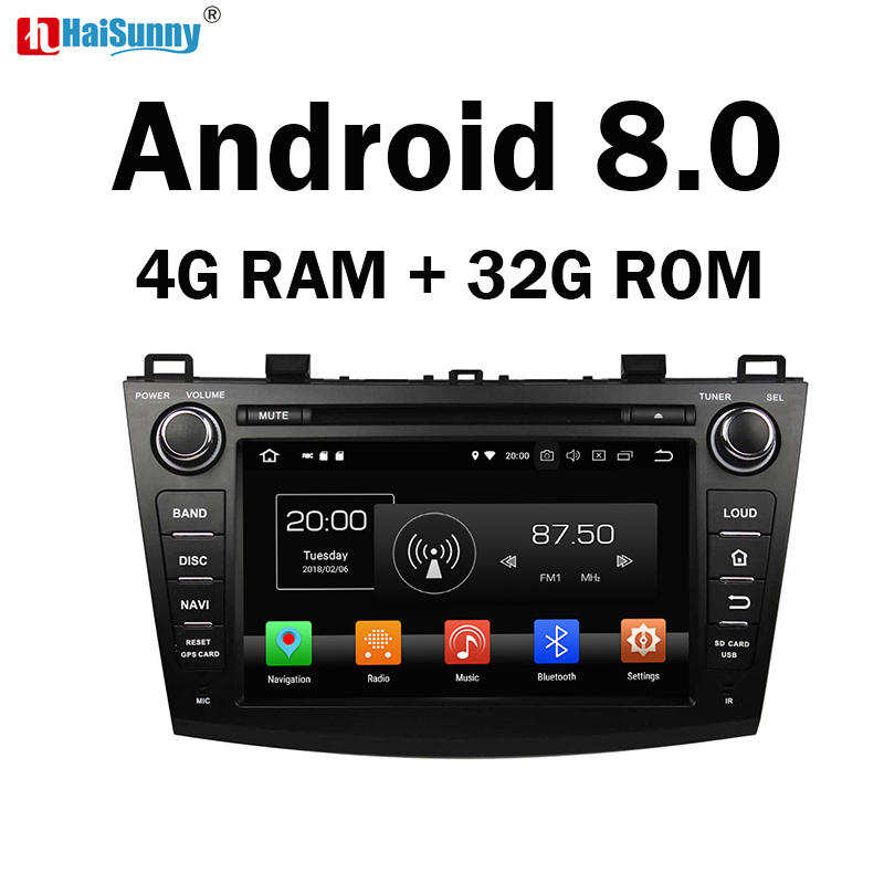 HaiSunny 4G RAM Android 8.0 Car DVD For <font><b>Mazda</b></font> <font><b>3</b></font> 2009 2010 2011 2012 <font><b>2013</b></font> Octa Core 32G ROM <font><b>Radio</b></font> GPS Player Head Unit image
