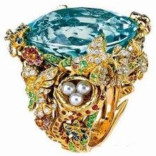 AnillosQi Xuan_Fashion Jewelry_Customized большой голубой камень роскошные кольца_ S925 Твердые серебряные синие кольца_ завод прямые продажи