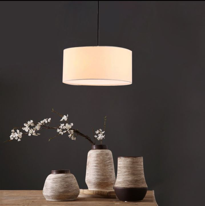 New Chinese Restaurant Single Head Chandelier Modern Minimalist Warm Bedside Lamp Personality Living Room Round Fabric Chandelie