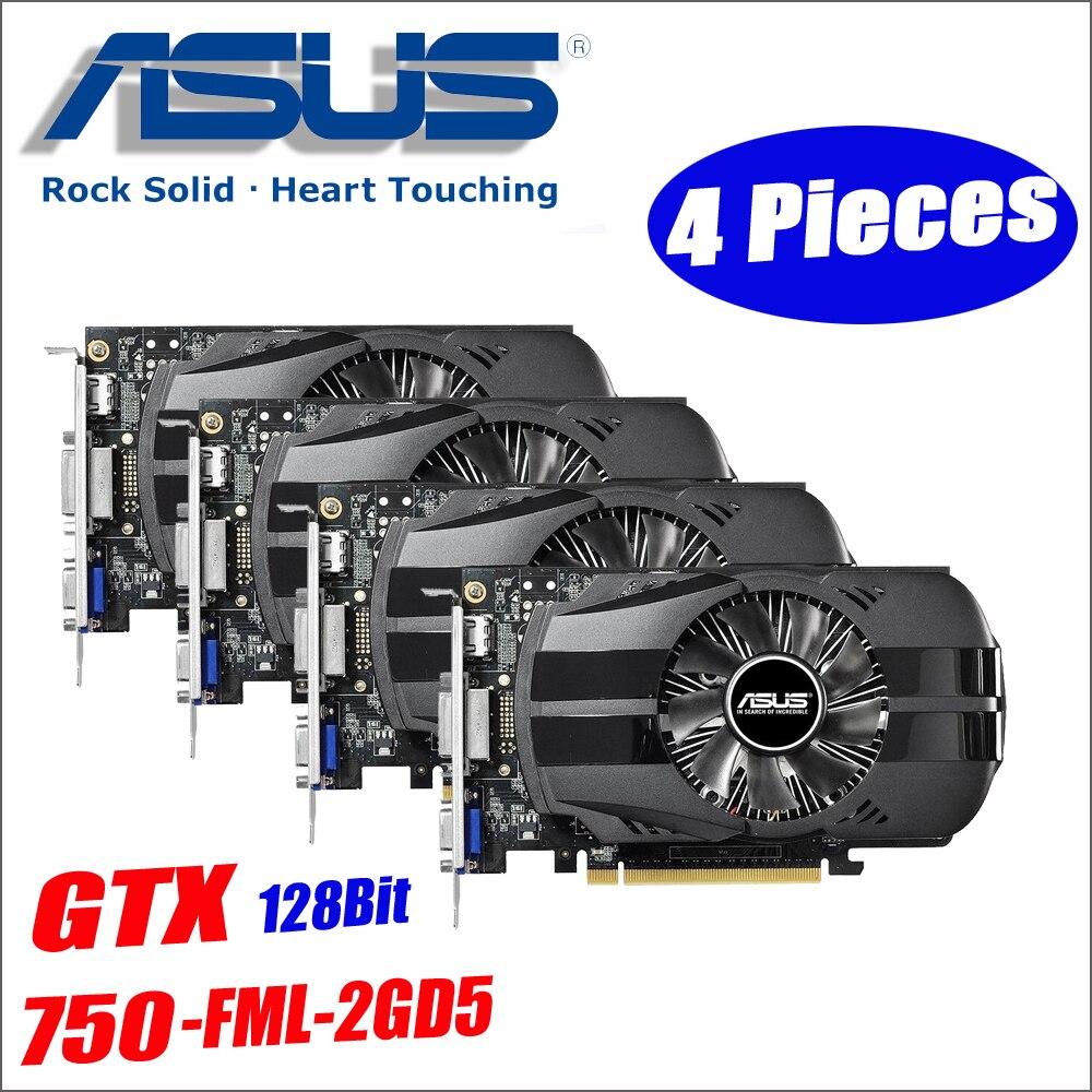Asus GTX-750-FML-2GD5 4 шт. GTX750 GTX 750 2 г D5 DDR5 128 бит настольных ПК Графика карты PCI Express 3,0 компьютеров Графика карты