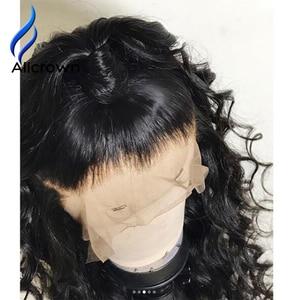 Image 2 - ALICROWN/короткие волнистые кружевные передние человеческие волосы, парики для женщин, бразильские Remy 13х4 кружевные парики с детскими волосами, предварительно выщипанные боковые части