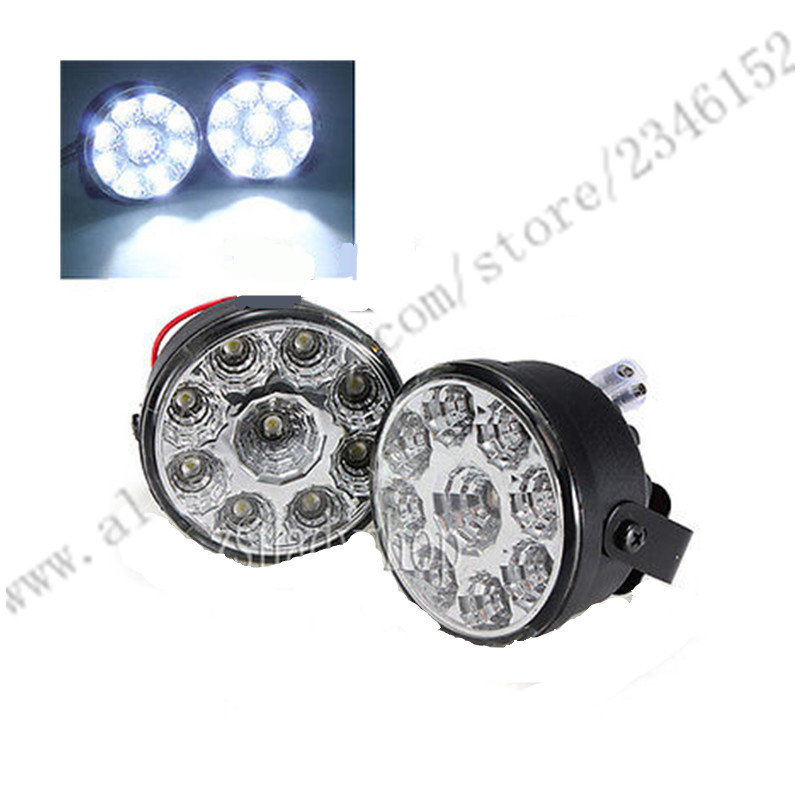 Round Daytime Driving Running Light DRL Car Fog Lamp Headlight 9LED Round Daytime Running Light DRL With Automatic Switch white newest update 12w led daytime running light switch waterproof 9led drl car driving fog light lamp 12w high super lighting white