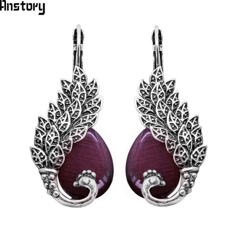 Drop Transparent Opal Peacock Earrings For Women Antique Silver Plated Vintage Look Personality Cuff Fashion Jewelry