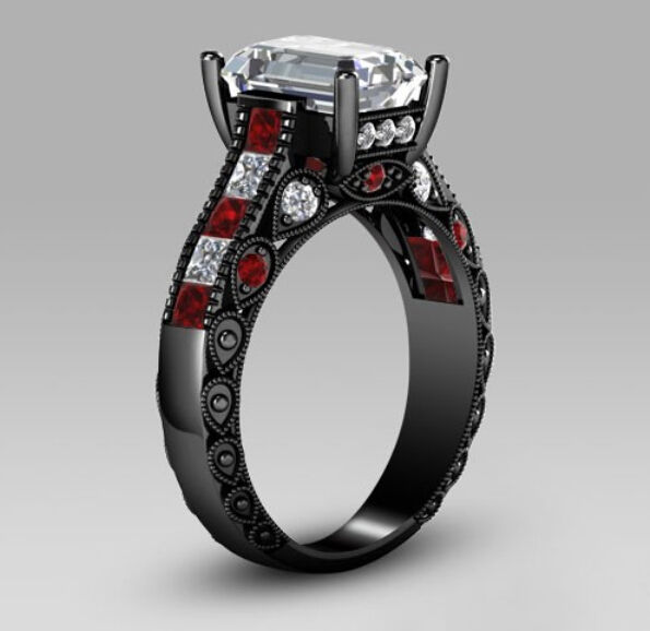 christmas promostion fashion jewelry prong setting women wedding 10kt black gold filled red garnet bridal band