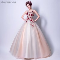 Red 3D Flower Quinceanera Dresses Vestidos De 15 Anos Dresses For Quinceaneras Party Ball Gown Girl Sweet 16 Dresses Robe De Bal