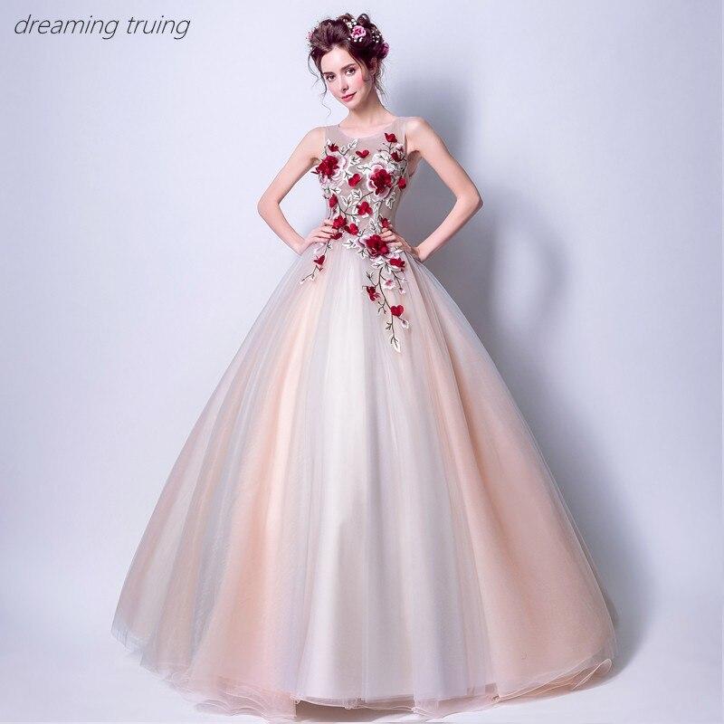 Rouge 3D fleur Quinceanera robes Vestidos De 15 Anos robes pour Quinceaneras fête Robe De Bal fille douce 16 robes Robe De Bal