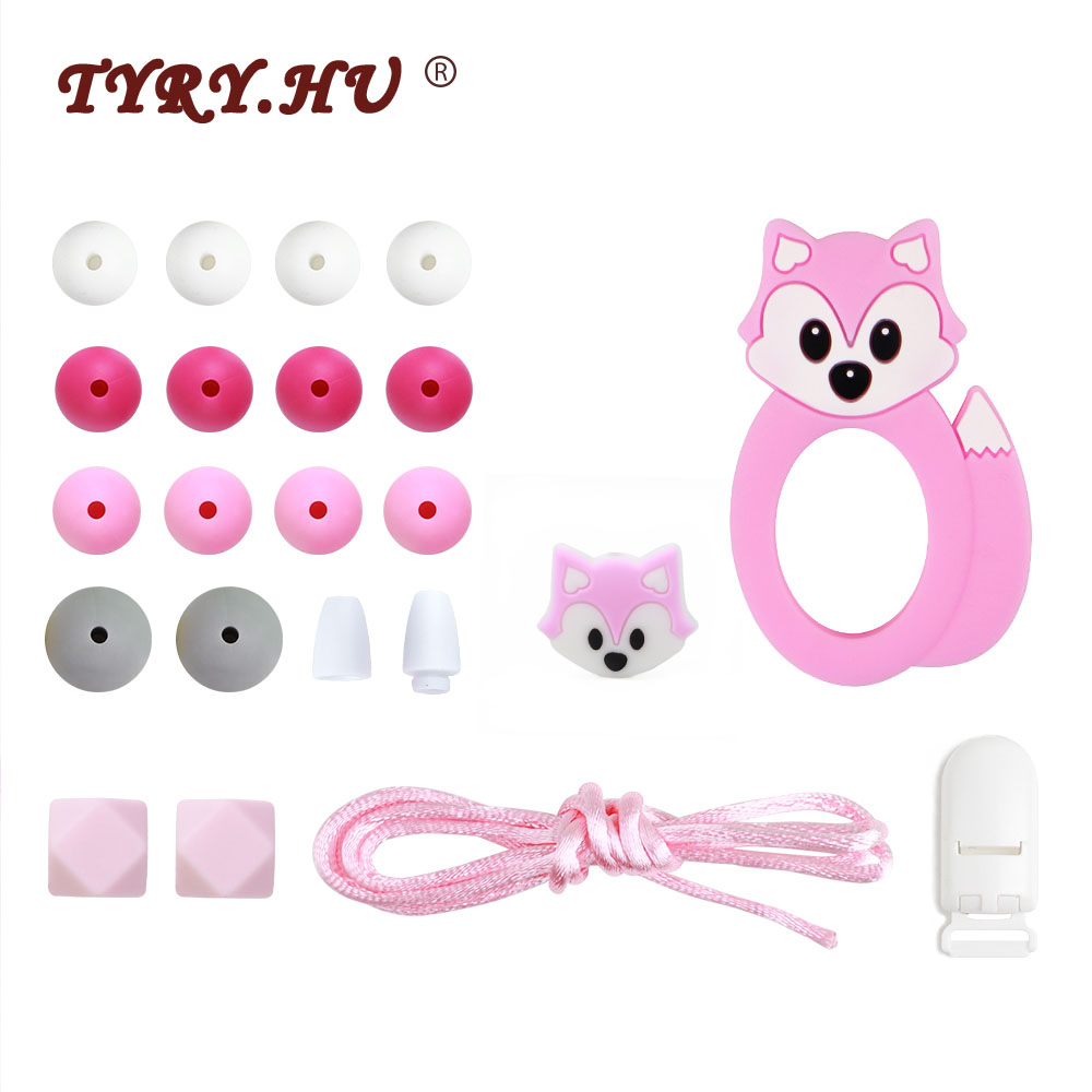 TYRY.HU  Baby Teether Beads Bpa Free For DIY Baby Teething Necklace Pacifier Chain Bracelet Food Grade Silicone Necklace Toy Set