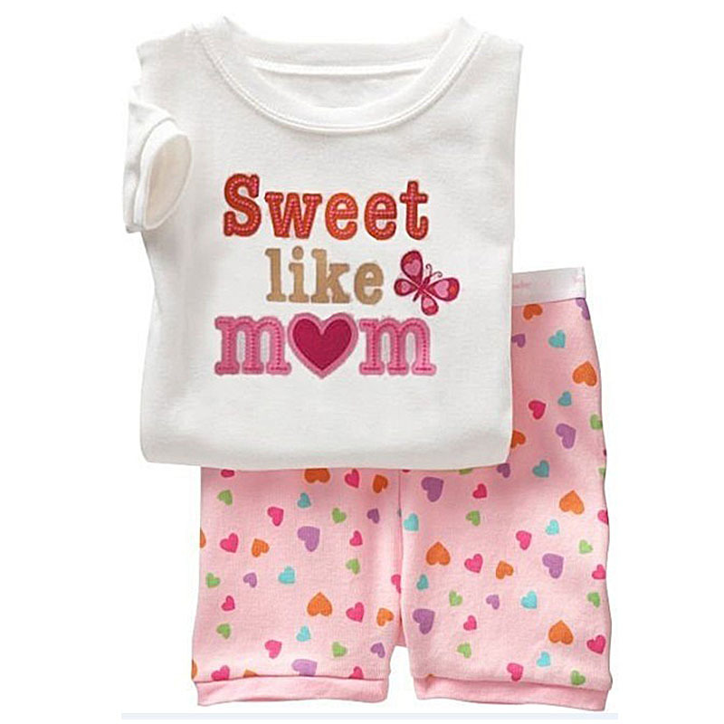 cab86c7726a3 Sweet Like Mom Children Clothing Set For Baby Girls Short Casual T ...
