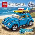 2016 Nueva LEPIN 21003 1193 Unids Creador Volkswagen escarabajo Modelo Kits de Construcción de Mini Juguetes de Los Ladrillos Compatible con 10252
