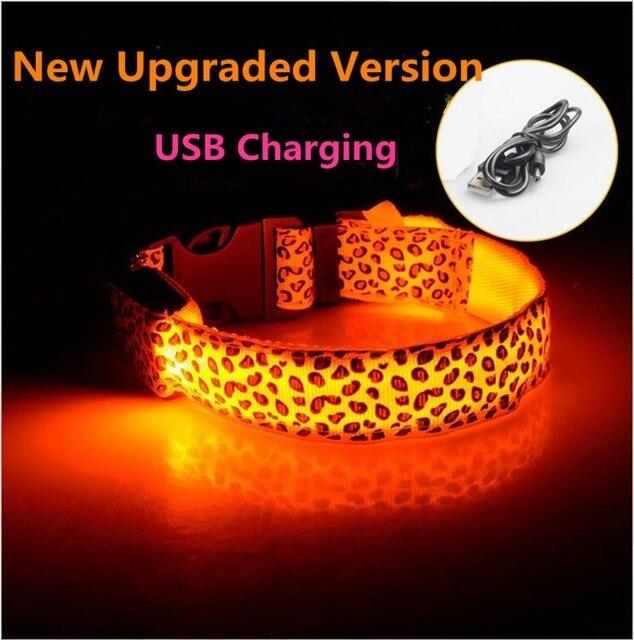 g87 nieuwe usb rechagerable hond kraag led nylon luipaard patroon lichtgevende halsbanden verlichte halsbanden