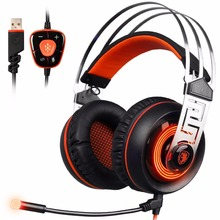 Sades A7 Stereo 7.1 Surround Sound USB Wired Computer Gaming Headset Headphones with Microphone Flexible Noise Canceling